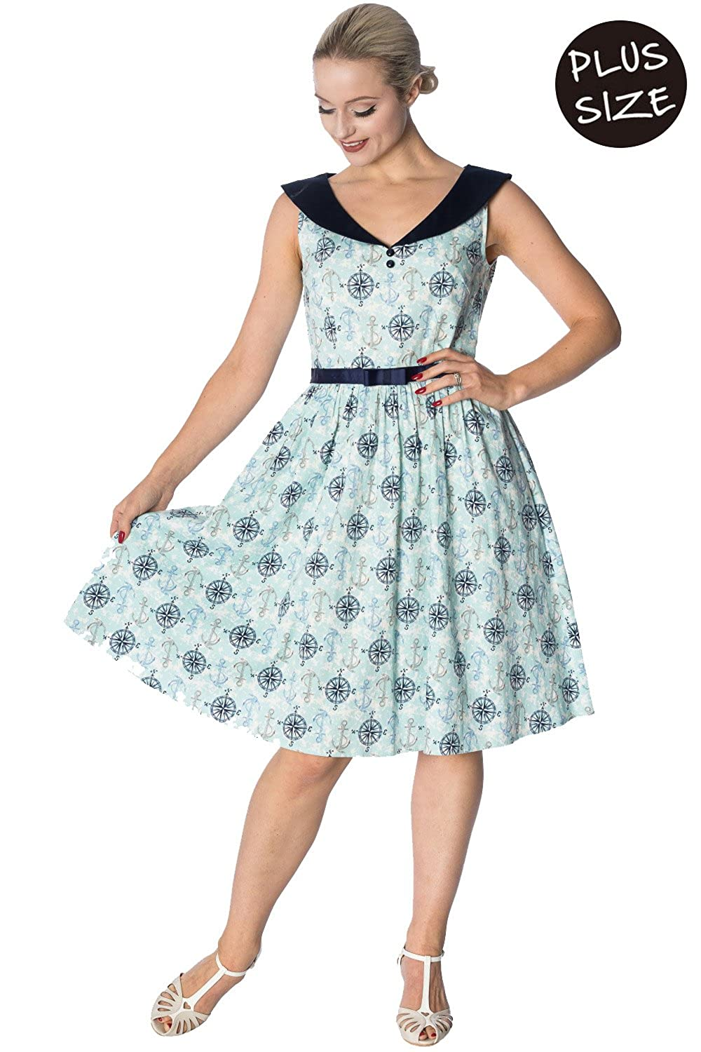 442395bd Vintage retro womens plus size dress by Banned Apparel knee length pleated  dress finished in pale blue with compass and anchor prints