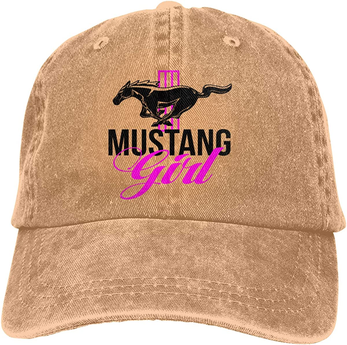 Linunang Unisexe Ford Mustang Girl Casquette de Baseball Denim Washed Rock Hat Adjustable