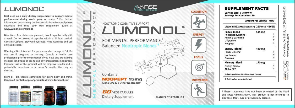 3 Bottles of Lumonol Original (180ct): Elevate Overall Cognitive Performance, Lumonol Upgrades Your Memory, Focus, Processing Speed and Overall Brain Functions. The World's Most Effective Nootropic