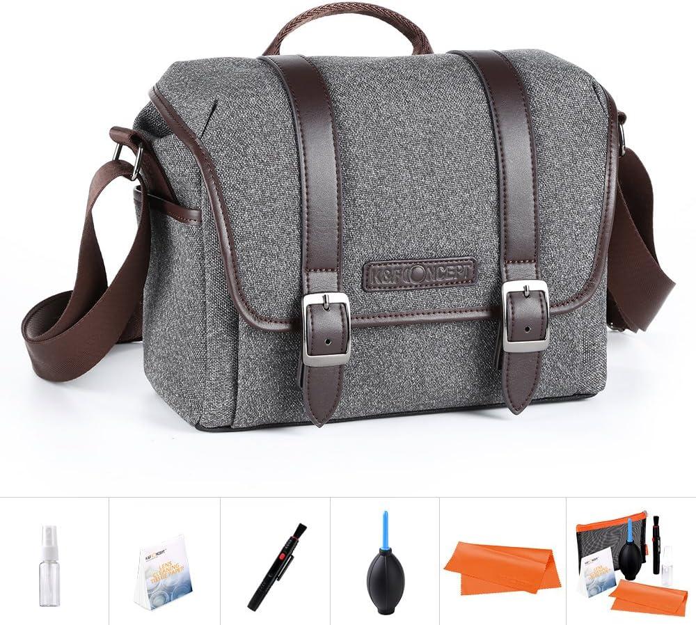 """K&F Concept Bolsa para Cámara DSLR y iPad de 7"""" con Correa Ajustable (tamaño s, Color Gris, Material de Nylon)"""