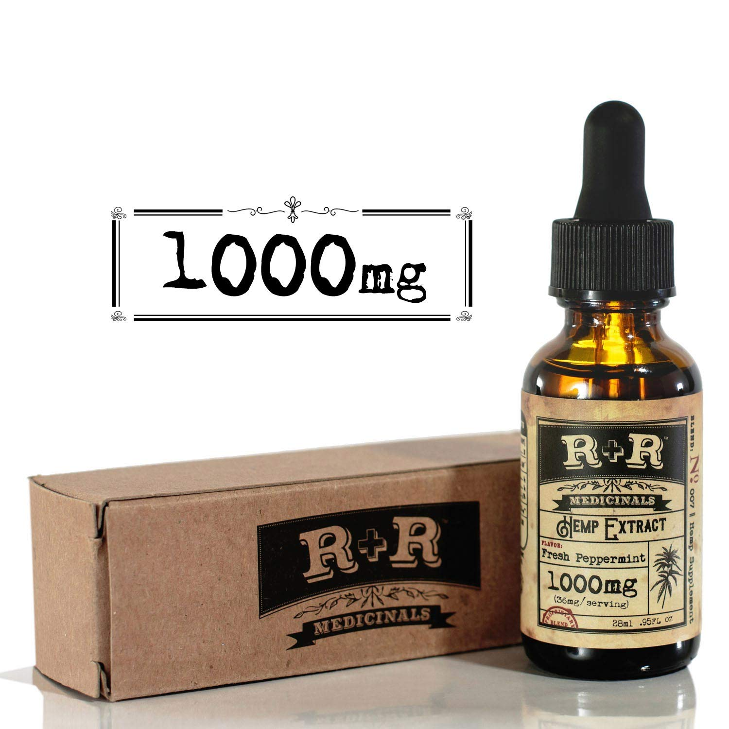 Hemp Oil 1000mg :: Hemp Oil for Pain :: Stress Relief, Mood Support, Healthy Sleep Patterns, Skin Care (1000mg, 36mg per Serving x 28 Servings) : R+R Medicinals by R+R Medicinals (Image #1)
