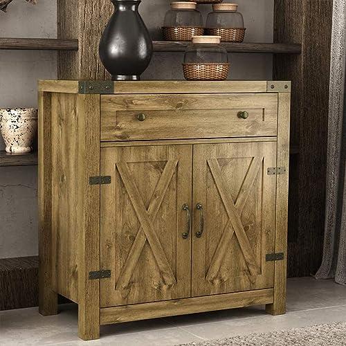 Amolife Wood Farmhouse Accent Storage Cabinet