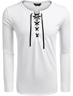 539c459aa3c837 COOFANDY Mens Long Sleeve Lace up Cotton T Shirts Casual Tops Tee Classic  Fit Basic Shirts
