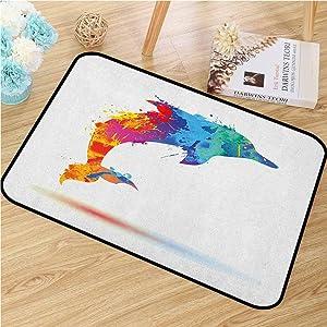 GUUVOR Dolphin Front Door mat Carpet Multicolored Animal Design Watercolor Pattern Vibrant Ocean Mammal Image Print Machine Washable Door mat W15.7 x L23.6 Inch Multicolor