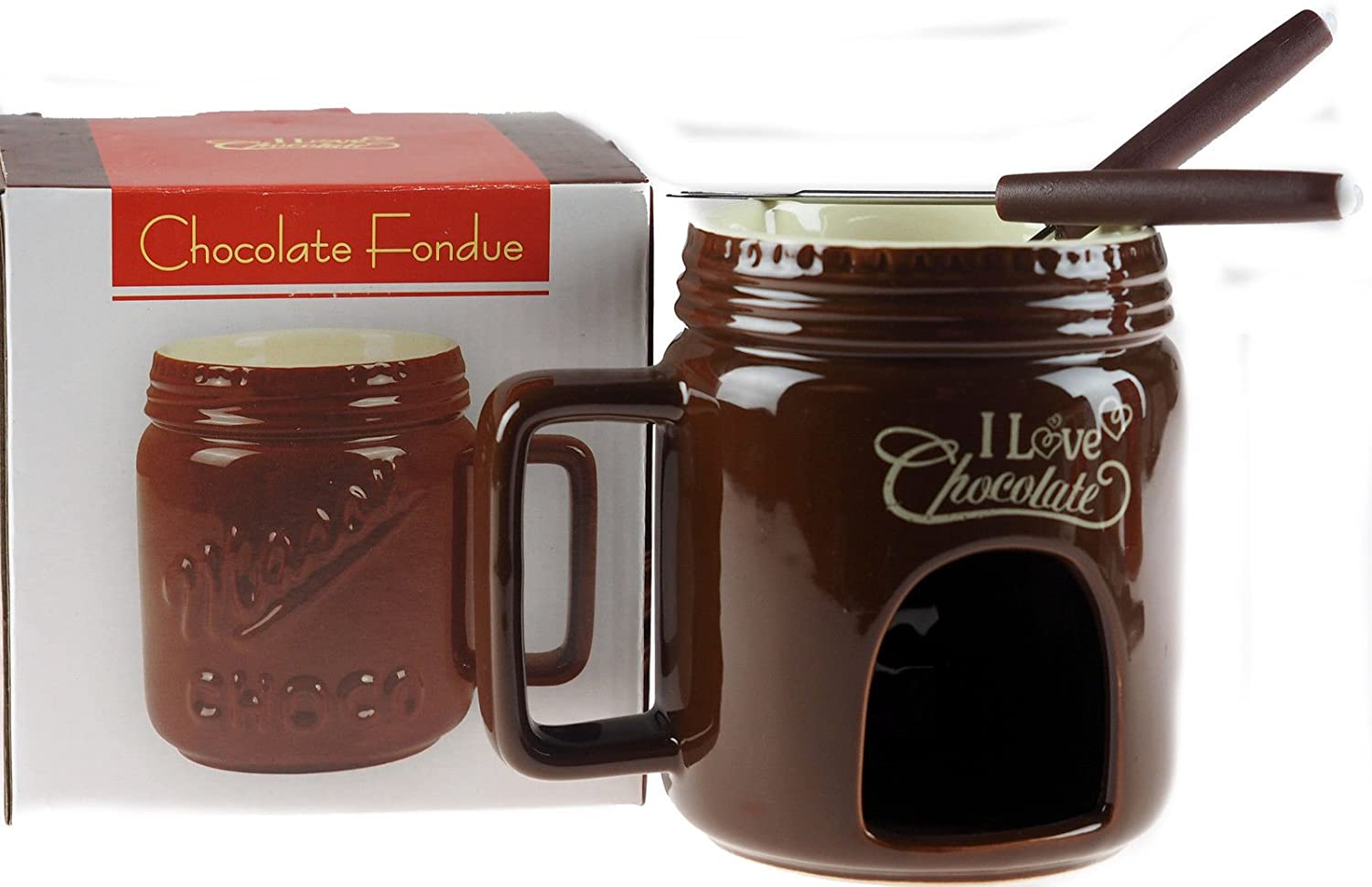 Chocolate Fondue Mug Gift Set - Brown l&p