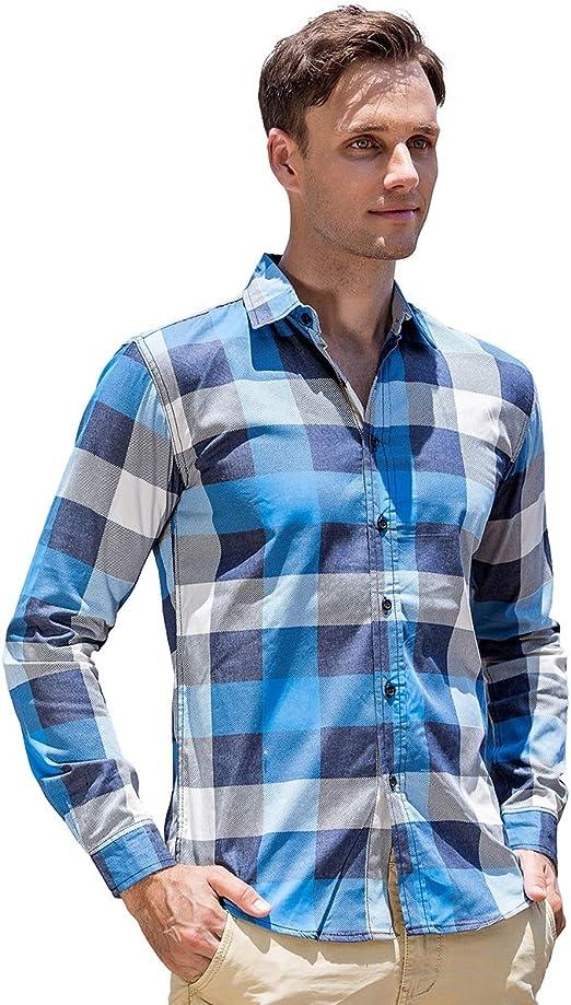 W&TT Camisa de impresión de Cuadros de Hombre más tamaño Trabajo Camisas de Manga Larga algodón Cheque Camisa (M ~ XXXL),Blue,L: Amazon.es: Hogar