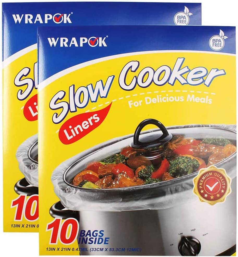 WRAPOK Slow Cooker Liners Cooking Bags BPA Free for Oval or Round Pot, Large Size 13 x 21 Inch, Fits 3 to 8.5 Quarts - 2 count (20 Bags Total)
