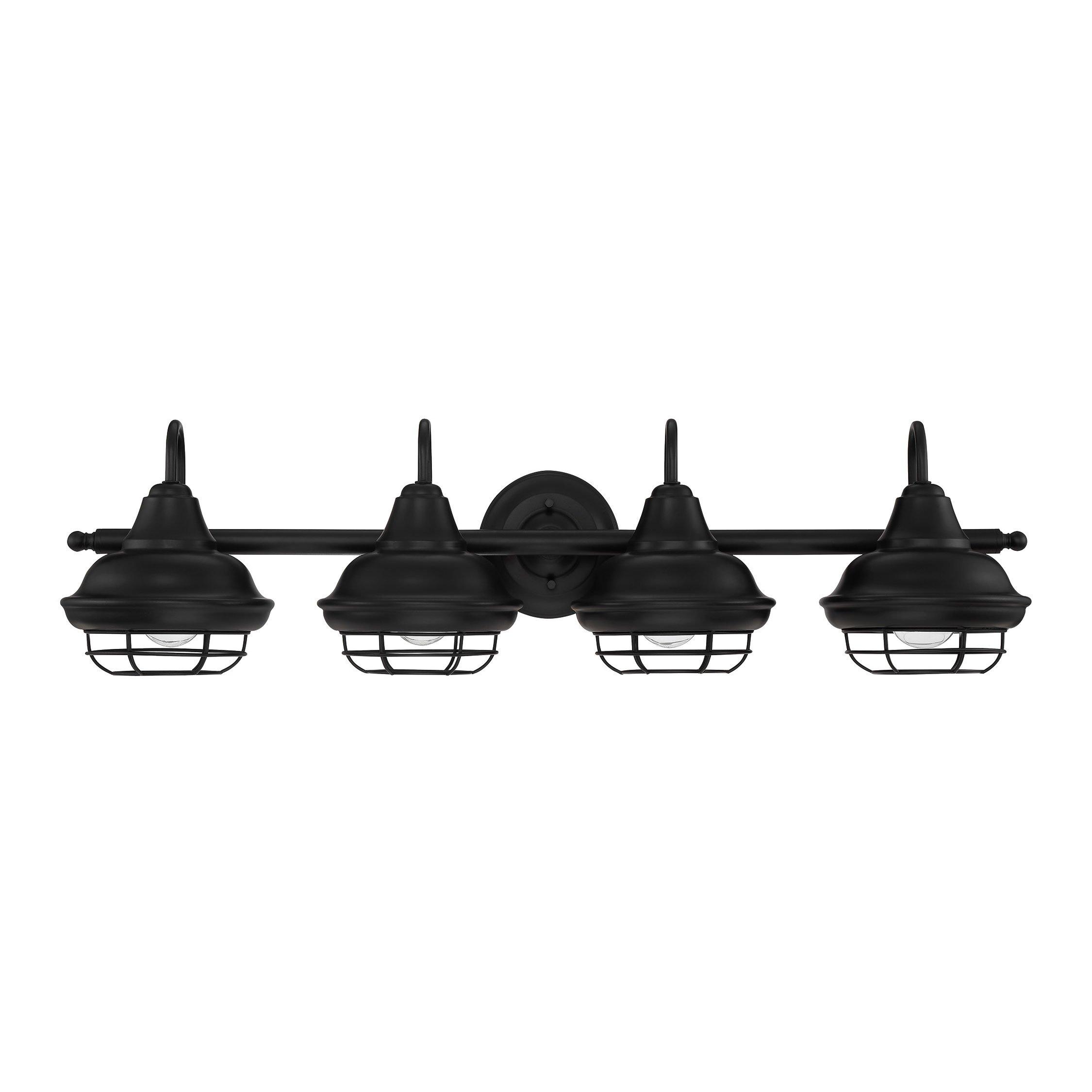 Designers Impressions Charleston Matte Black 4 Light Wall Sconce/Bathroom Fixture: 10014