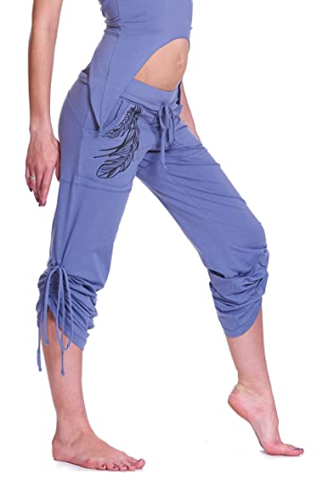 a480fac0c2 Altshop UK Women Organic Cotton Yoga Pants, Boho Feather Print Two-Way Comfy  Lounge Pants, Hippy Hoop Wear Trousers: Amazon.co.uk: Clothing