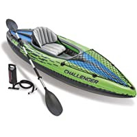 Challenger K1 Kayak, 1-Person Inflatable Kayak Set with Aluminum Oars and High Output Air Pump …