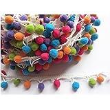 YYCRAFT Rainbow Pom Pom Ball fringe Trim Ribbon Sewing(5 Yards)