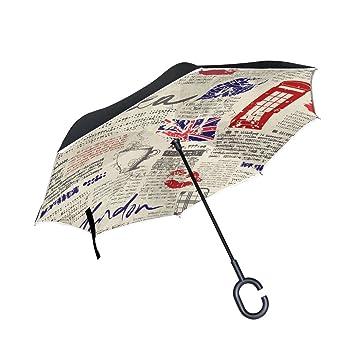 jstel doble capa auxiliar vintage periódico Londres paraguas coches Reverse resistente al viento lluvia paraguas para