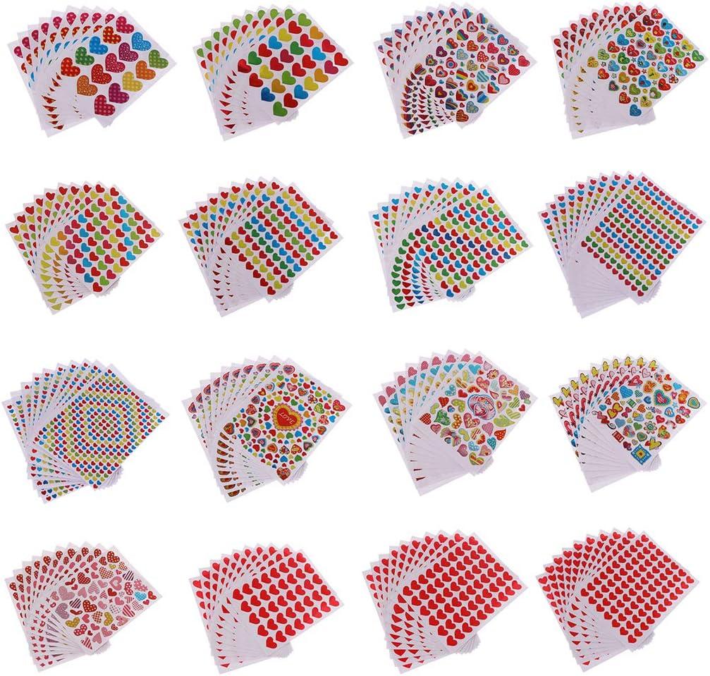 LLAni 10 Hojas Pegatinas De Coraz/ón Amor Etiqueta Decorativa Ni/ños Sobres Tarjetas Craft Scrapbooking Favores De Fiesta Premio Clase Premios Premio Alabanza
