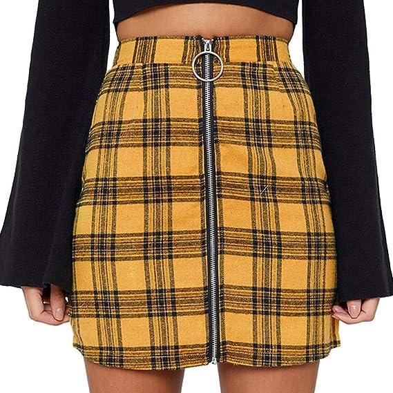 AOGOTO Falda corta de cintura alta con cremallera para mujer ...