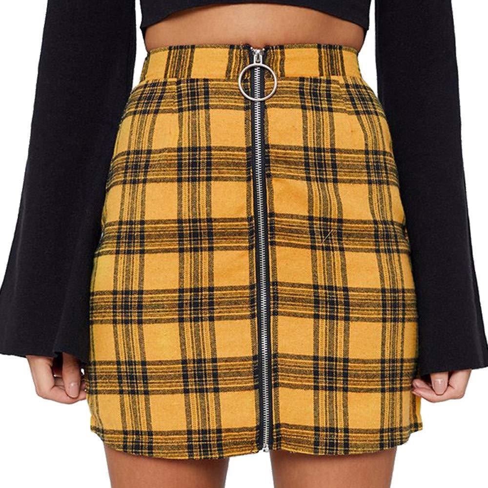4Clovers Women's Mid Waist Above Knee O-Ring Zipper Front Plaid Pencil Skirt Bodycon A Line Mini Skirt Yellow