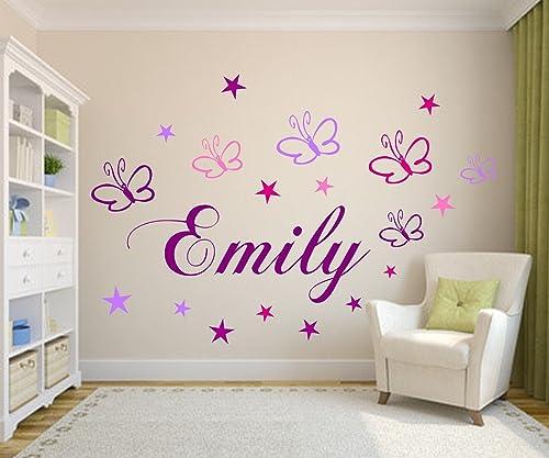 Wandschnörkel ® Wandtattoo Kinderzimmer NAMEN mit 19 Sternen und  Schmetterlingen Mädchen Baby Zimmer