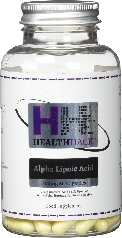 Health Hack - Ácido alfa lipoico, 500 mg, 60 cápsulas: Amazon.es ...