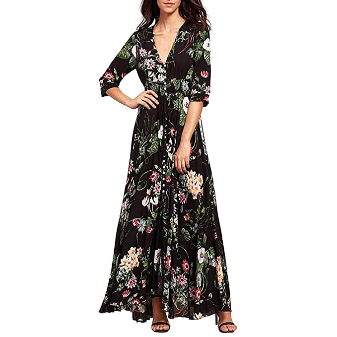 ee27b81561a6 Image Unavailable. Image not available for. Color: WESIDOM Women's Dress  Button up Split Maxi Boho Bohemian Floral Print Beach Long Vestido