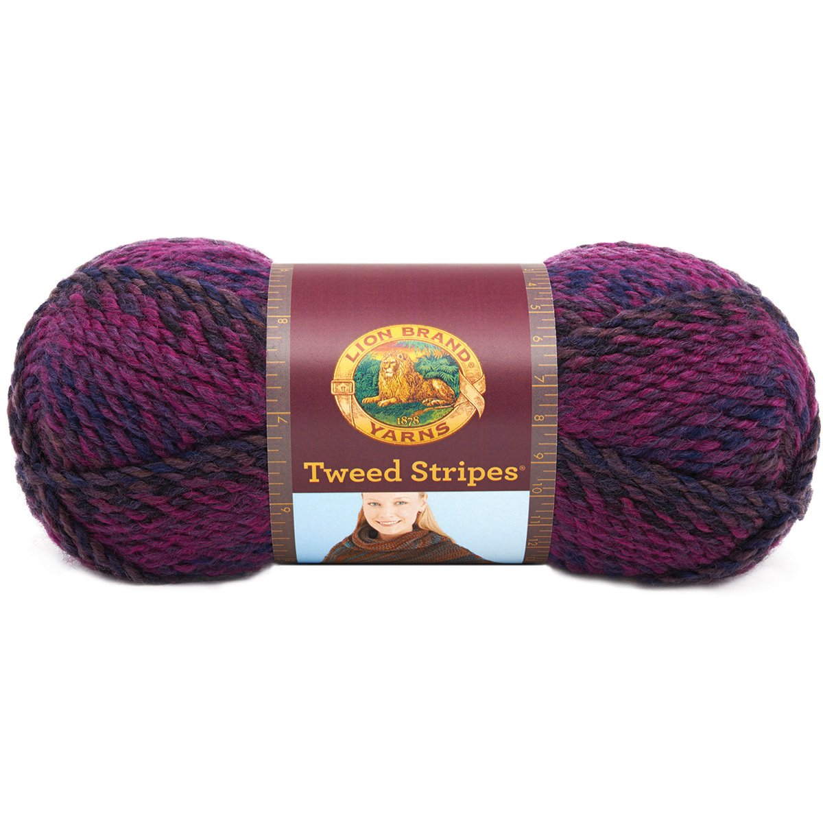 Lion Brand Yarn 753-206U Tweed Stripes Yarn, Woodlands