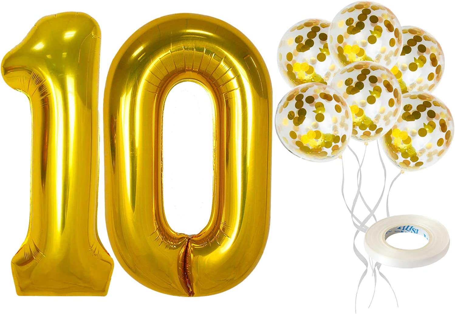 Gold Number 10 Balloon and Confetti Balloons set - Large, 40 Inch Mylar for 10 Birthday | 5 Gold Confetti Balloons, 12 Inch | 10th Birthday Decorations for Girls or 10 Year Anniversary Decorations
