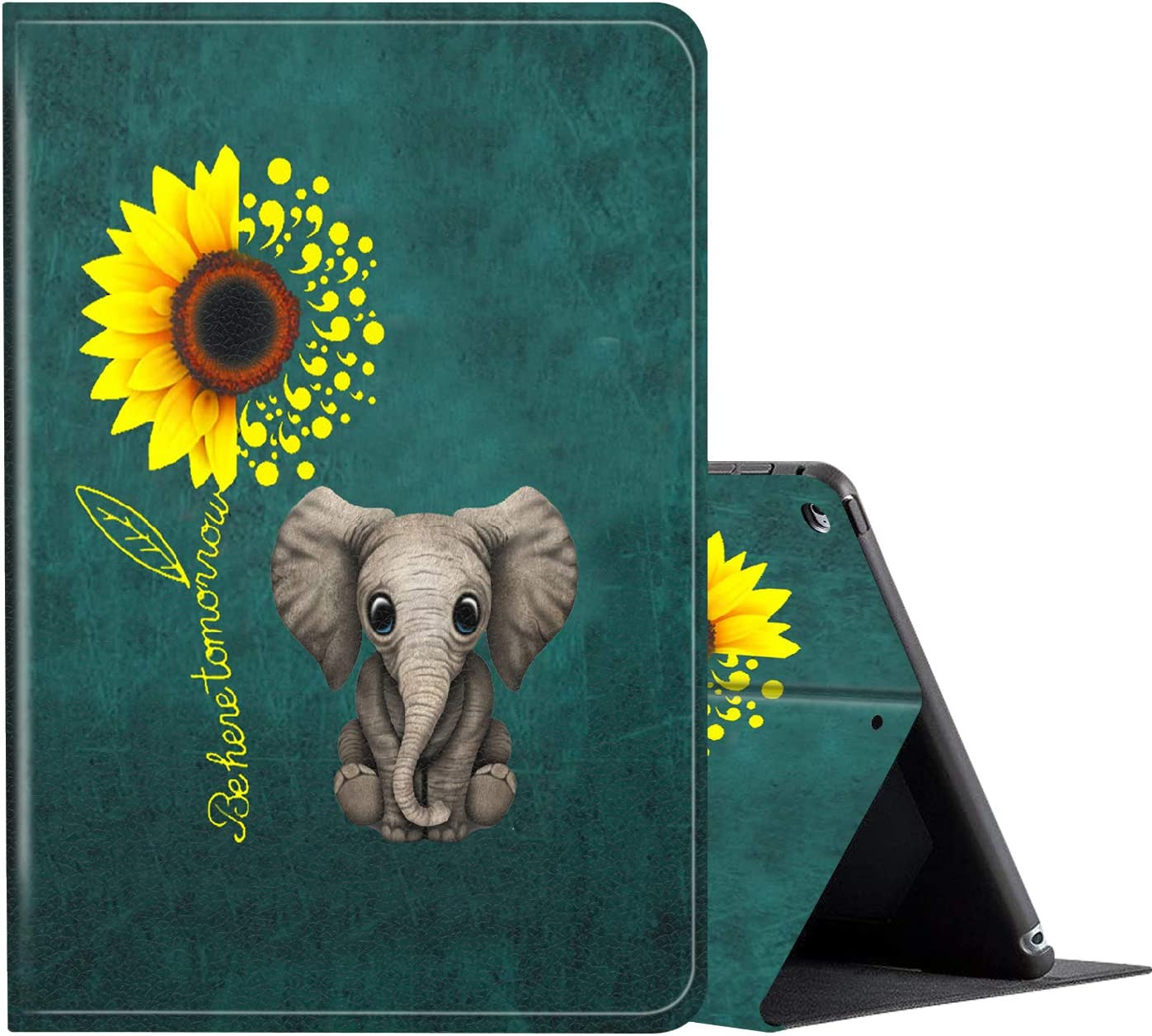 iPad 10.2 Case (2020/2019) 8th/7th Generation ipad Case,Amook Adjustable Non-Slip Folio Stand with Auto Wake/Sleep Smart Cover for New Apple iPad 8/7 Gen 10.2 inch-Baby Elephant and Sunflower