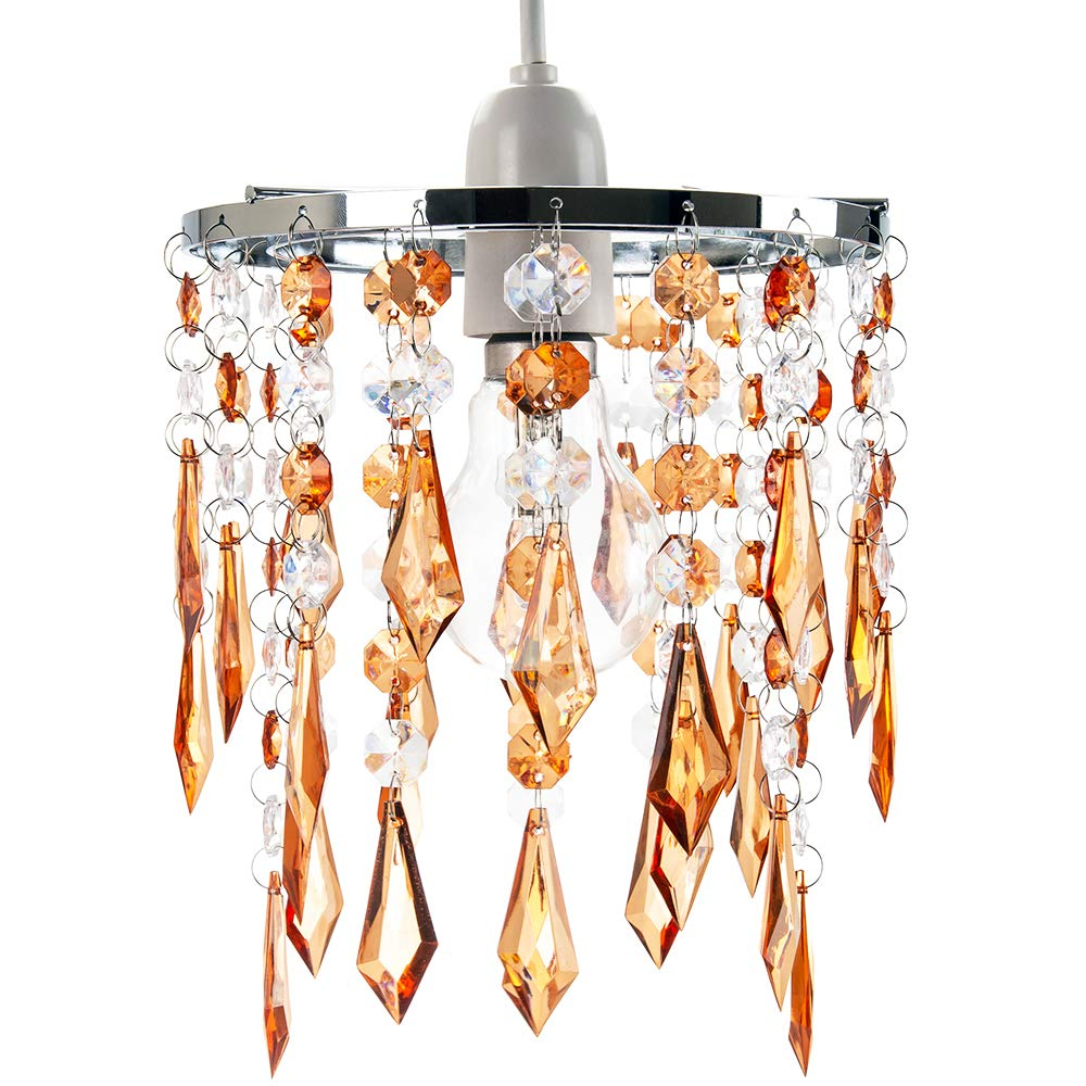 16cm Diameter by Happy Homewares Modern Waterfall Design Easy Fit Pendant Shade with Clear//Smoked Acrylic Droplets and Beads Chrome Metal Rings