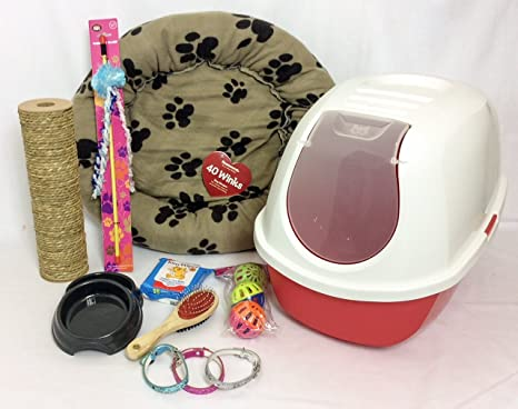 RS Pet Kits Kit de iniciación para gatos, con capucha, bandeja de arena para