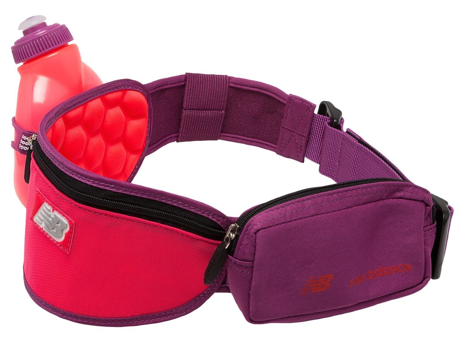 New Balance Fitness Fuel Belt Helium H10 1 Bottle Hydration Belt Waist Pack (Crimson/Purple) by New Balance