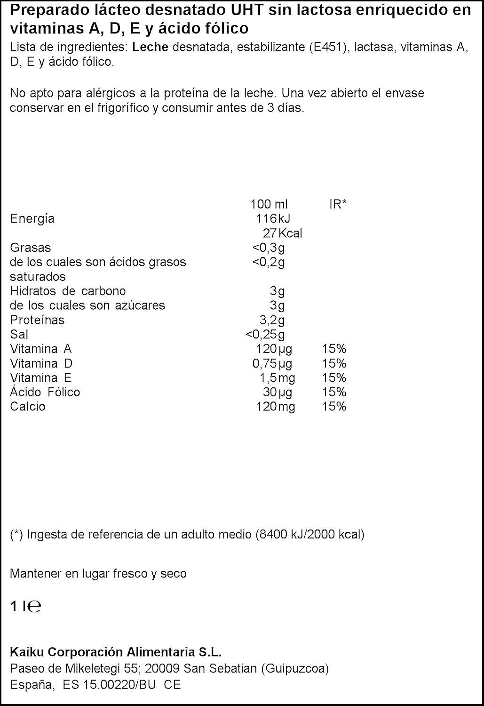 Kaiku Leche Sin Lactosa Desnatada - Paquete de 6 x 1000 ml - Total 6000 ml