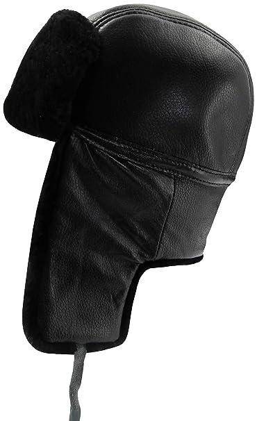 cad635af3fbaf4 Ledamon 100% Winter Shearling Sheepskin Bomber Hat (Black): Amazon ...