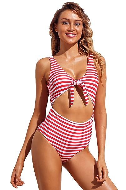 Las mujeres rayada blanca roja del recorte corbata frente a la playa de Monokini: Amazon.es: Ropa y accesorios
