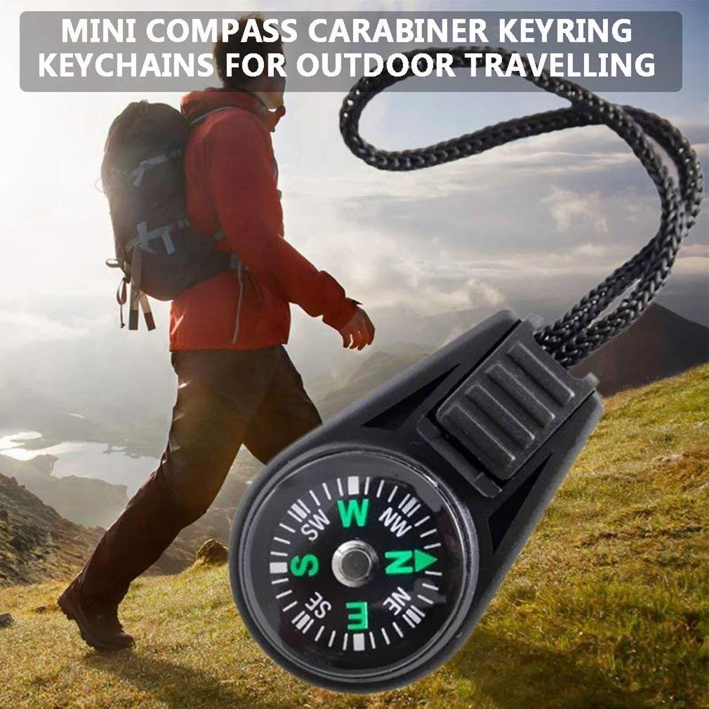 Leoboone 5 Unids Mini Br/újula Carabiner Clip Guiding Tool Llavero Llaveros para Actividad Al Aire Libre Senderismo Camping Caza Viajar