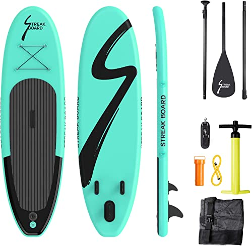 streakboard Inflatable Stand Up Paddle Board Surfing SUP Boards, No Slip Deck 6 Inches Thick ISUP Boards with Free SUP Accessories Backpack, Leash, Paddle and Hand Pump, for All Levels