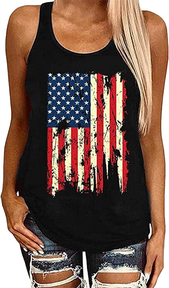JIER Liquidación Camiseta sin Mangas con Bandera Americana Camiseta sin Mangas con Bandera Americana Mujer Camisetas sin Mangas con Estampado de Bandera Estadounidense 4 de Julio (Negro, S): Amazon.es: Ropa y accesorios