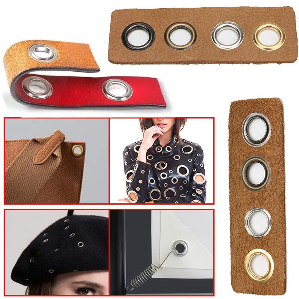 Verschl/üsse f/ür Schuhe 4 mm Innendurchmesser Leder runde Metall/ösen mit Unterlegscheiben Perlenkern Handwerkstaschen 200 Sets /Ösen Kleidung Antik-Messingfarbe Leder-Zubeh/ör