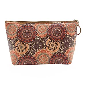 HOYOFO Women's Travel Cosmetic Bags Small PU Makeup Clutch Pouch Toiletries Organizer Bag with Mandala Flower Patterns, Brown
