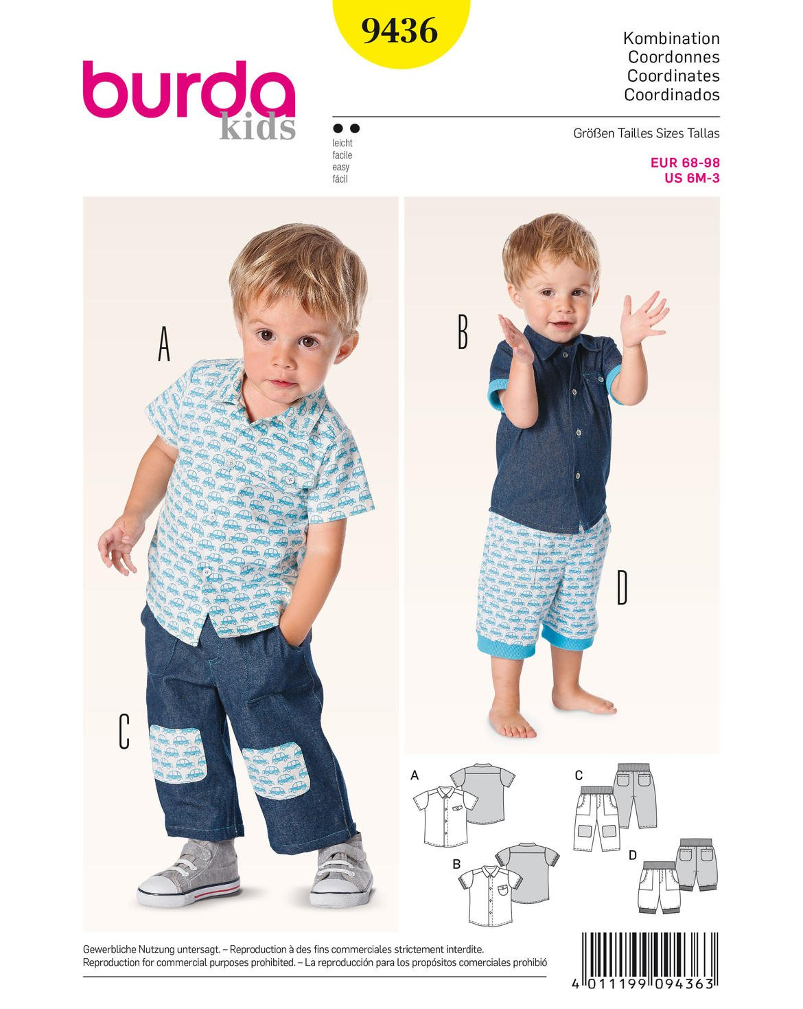 Burda Toddlers Easy Sewing Pattern 9436 - Shirt, Shorts & Trouser Pants Ages: 6M-3 Years B9436