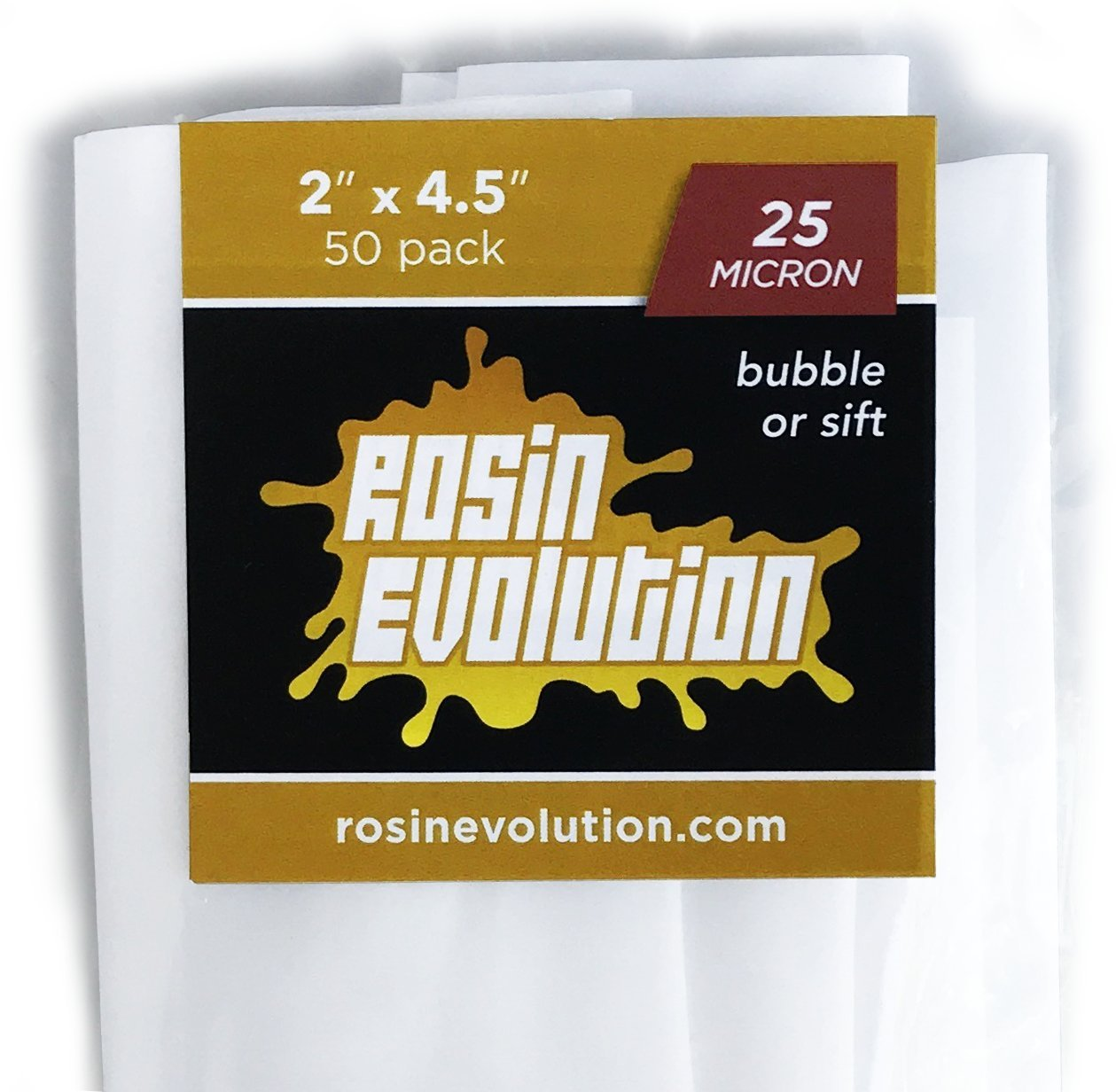 Rosin Evolution Press Bags - 25 Micron Screens (2'' x 4.5'') - 50 Pack by Rosin Evolution