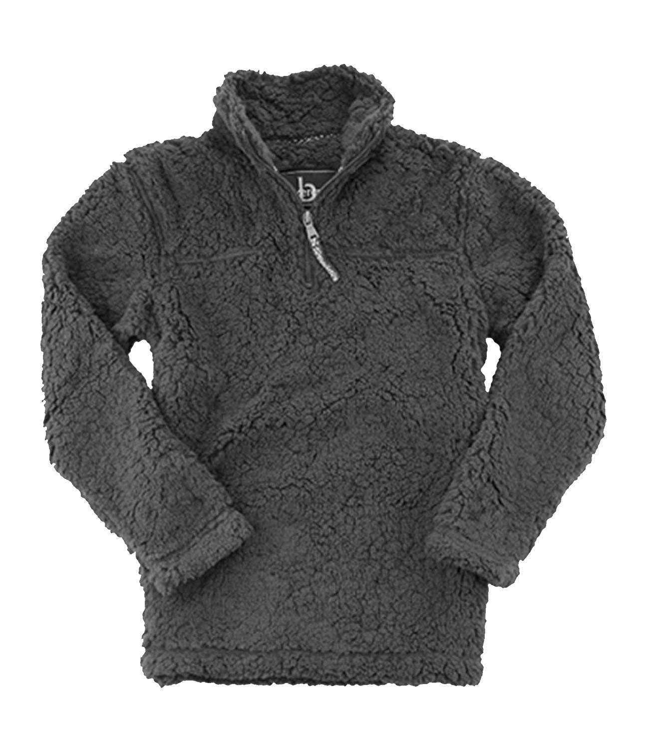 boxercraft Adult Quarter Zip Sherpa Pullover-Charcoal-Large