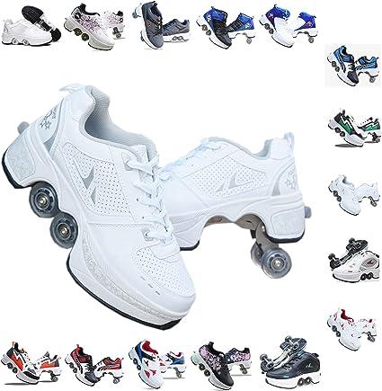 gyl Roller Skates For Women 4 Wheel Adjustable Quad Roller Skates Boots,2-in-1 Multi-Purpose Shoes,Boys Girls Universal Walking Shoes,Whitered-31