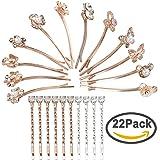 Jaciya Pack of 22 Rhinestone Crystal Hair Barrette Flower Bear Hair Clip Hair Pin