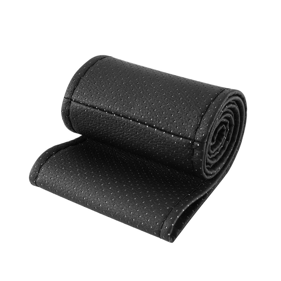 WEIWEITOE Universal PU Leather Car Auto Steering Wheel Cover With Needles And Thread Breathability Skid-Proof Vehicle Cover,black,