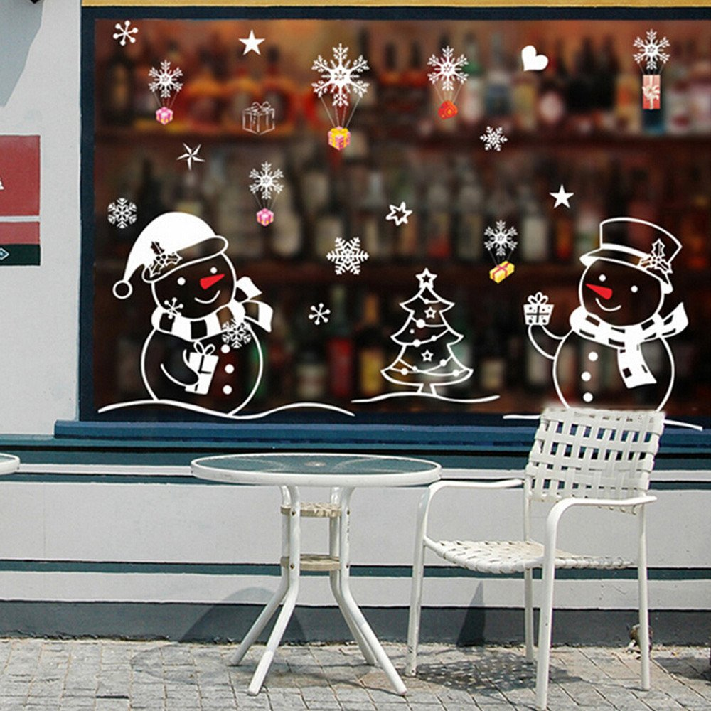 Christmas Wall Stickers Snowman 50*70cm Removable Home Vinyl Window Wall Stickers PVC Decal Decor Banstore.