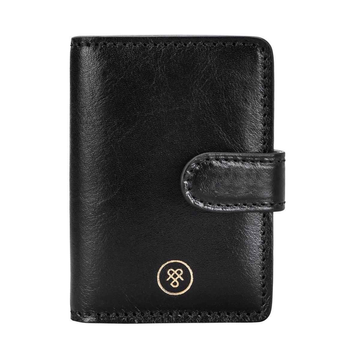 Maxwell Scott Personalized Premium Black Handcrafted Italian Full Grain Leather Mini Pocket Agenda (Alvito) by Maxwell Scott Bags (Image #1)