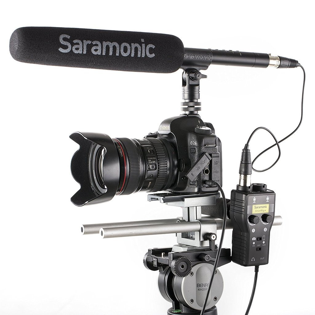 Saramonic SmartRig+ 2-Channel XLR/3.5mm Microphone Audio Mixer with Phantom Power Preamp & Guitar Interface for DSLR Cameras, Camcorders & Smartphones Kit with Cleaning Cloth by Saramonic