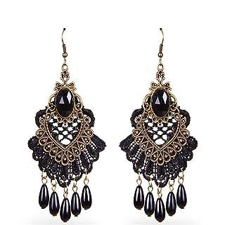 Leisial orecchini Pompon gioielli per donne orecchini a frange FREGIO d' orecchio per regalo di San Valentino e regalo di compleanno, Lega, Rose, 9.5*5CM