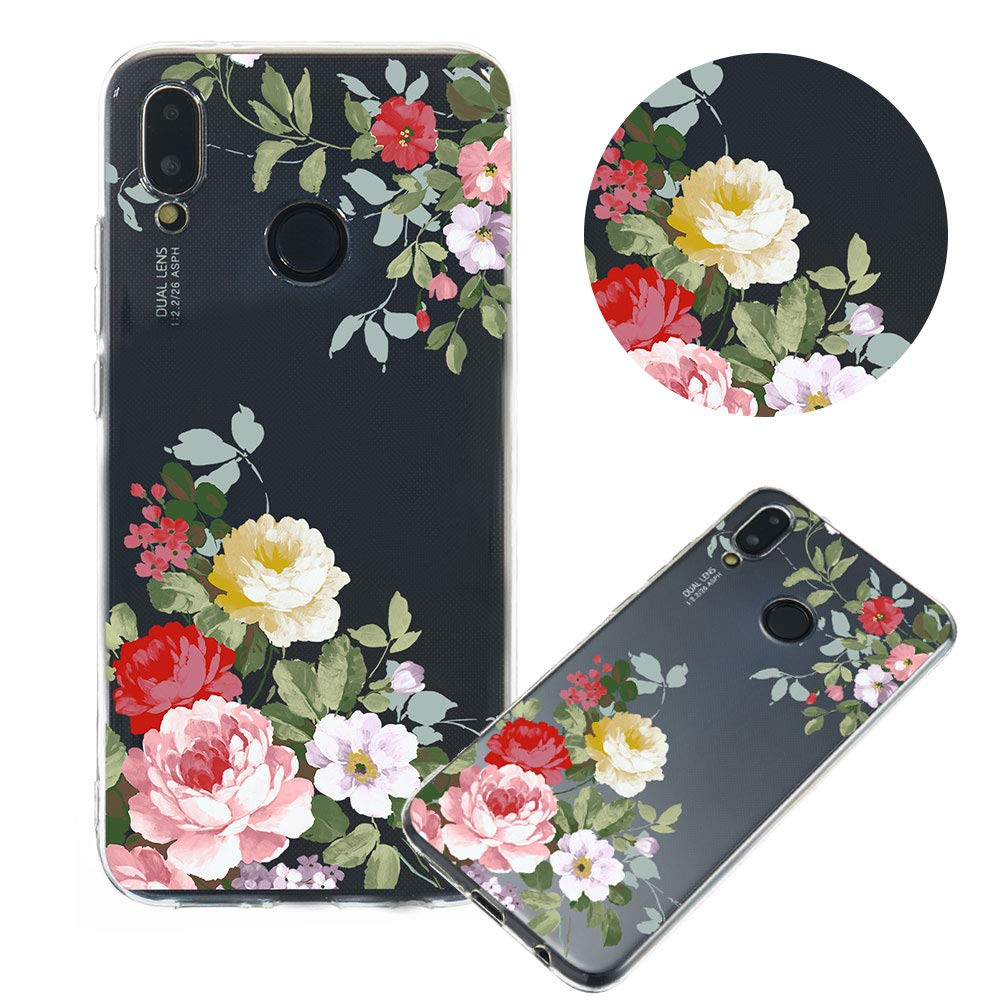 Soft Clear Case for Huawei P20 Lite,Flexible Plastic Case for Huawei P20 Lite,Moiky Creative Diagonal Green Branch Peony Printed Ultra Thin TPU Silicone Transparent Crystal Slim Fit Back Cover Case by MOIKY (Image #1)