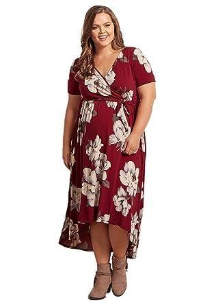 6d52730fb3473 PinkBlush Maternity Floral Hi-Low Midi Plus Size Dress at Amazon Women's  Clothing store: