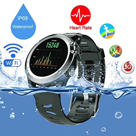 Millitary GPS IP68 Waterproof WiFi 3G SIM Compass Smartwatch Outdoor Sports Smart Watch Bluetooth Fitness Tracker for iPhone & Android (Black)