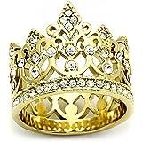 ISADY - Femke - Damen Ring - 14 Karat (585) Gelbgold platiert - Kristal - Krone